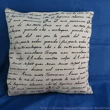 US Seller-handwriting retro chic vintage retro cotton linen cushion cover