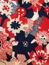 Vintage Mid Century Mod Barkcloth Fabric Curtain Panel Red White Blue Floral