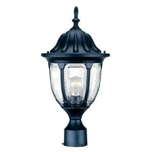 Black Post Mount Light Pole Top Fixture Lantern Lamp Home Outdoor Lighting Decor