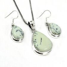 Agate Gemstone 925 Sterling Solid Silver Earring Pendant WOMAN GIFT Jewelry Set