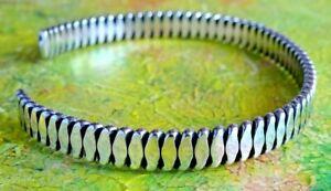 Fabulous vintage solid sterling silver open cuff bangle bracelet.