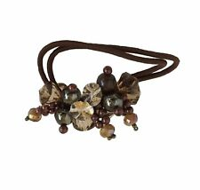 Rhinestone Crystal Pearls Hair Ponytail Holder Band - Dark Brown