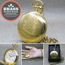 Gold Pocket Watch Brass Men Size 47 MM with Fob Link Chain and Gift Box P269