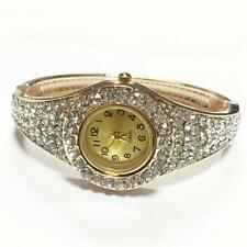 Luxury Women Rhinestone Bangle Crystal Flower Bracelet Quartz Wrist Watch