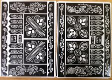 2 SHEETS  HENNA STICKERS TATTOO BODYART MEHNDI STENCIL LADIES MENS SET KIT NEW