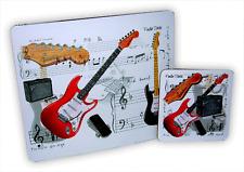 Fender Guitar Mouse Mat & Coaster Set - Music Themed Gift - Musical Mouse Mat