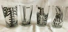"Skeleton Drinking Glass/Votive Set of 4 Halloween 4"" Rib Cage Leg Hand Back Bone"