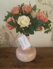 ♡ Peach apriot coral & cream Rose tied bunch and peach metal vase ♡ vintage rose