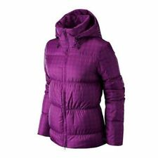 Ladies Nike Swoosh Goose Down Padded Jacket Purple Check Winter Coat Hooded M-xl XL UK 16 to 18 Bust 42 to 45 Inches