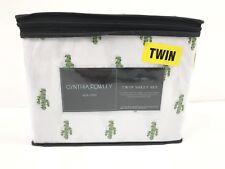 "NEW Cynthia Rowley ""Christmas Cactus"" Twin Sheet Set 100% Cotton"