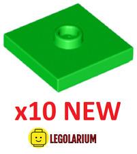 Lego Teile NEU - 10 Stück Platte 2x2 mit Nut und 1 Nieten 87580 hell grün