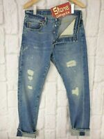Levis Vintage Clothing LVC Blue 1966 501 Selvedge Distressed Jeans W31 L33 £265