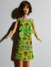 Vintage Handmade Barbie Dress - Cute Green Print Empire Waist Dress - No Doll