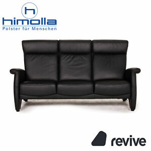 Himolla Ergoline Leather Sofa Black Three-Seater Function Couch