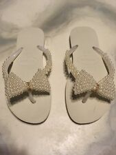 Havaianas Wedding Bridal Beach Flip Flops Pearl Crystal Bling Shoes 7 8 37-38