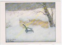 CP TABLEAU ART FRITZ THAULOW Le banc sous la neige