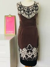 Phase Eight mocha print stretch pencil wiggle evening party cocktail dress 12 2a