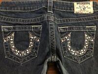 """TRUE RELIGION Jeans SKINNY JEWELED Pocket Stretch Low Rise Zip Fly sz 27 29"""" W"""