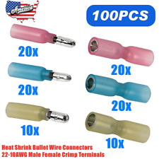 100Pcs Heat Shrink Bullet Wire Connectors 22-10AWG Male Female Crimp Terminals