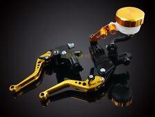 Universal Accessories Gold Master Cylinder Brake Clutch Levers Set Reservoir