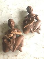 Vintage Wood Carving THAI & SIAMESE MUSICIAN Wall Hanging
