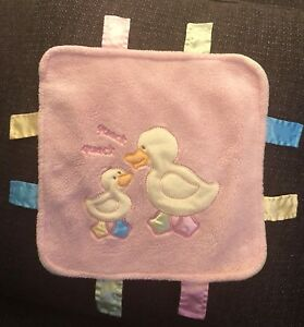 "Blankets & Beyond LoveY Pink 12"" x 12"" Quack Tags Ducks"