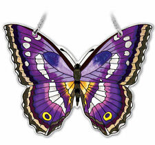 """AMIA STAINED GLASS SUNCATCHER PURPLE EMPEROR BUTTERFLY  5.5 X 4.25""""  #42336"""