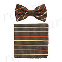 Men microfiber Pre-tied Bow Tie & hankie set red orange striped stripes formal