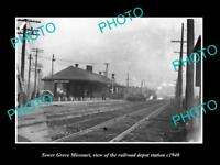 OLD LARGE HISTORIC PHOTO OF TOWER GROVE MISSOURI RAILROAD DEPOT STATION c1940