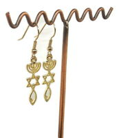 New Set Earrings Gold rhodium.Menorah Star Of David Fish.Messianic Seal israel