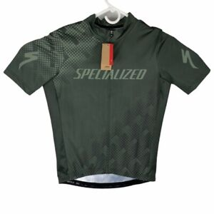 Specialized Mens Rbx Comp Logo Cycling Jersey Green Stretch Full Zip Mesh L New