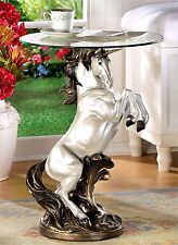 SCULPTED REARING UNICORN ACCENT, END, SIDE OR NIGHT TABLE ** NIB
