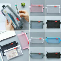 Portable Travel Pouch Makeup Bag Storage Transparent Student Pen Case Mesh Box