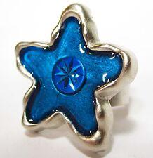 Ring SoHo® blue Star silber Kunstharz blau großer Stern retro resin verstellbar