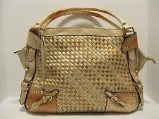 Purse Gold Braided Weave Faux Leather Bronze Snake Skin Trim Hobo Bag NWT L110