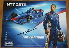 2015 Tony Kanaan signed NTT Data Chevy Dallara Indy Car postcard