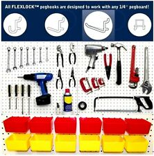 10 Red Plastic Bins, 80 White Peg Hooks - Garage Pegboard Storage - Workbench