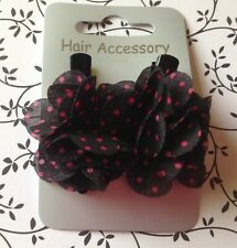 NEW 2 BLACK PINK POLKA DOT SPOTTY 4cm RUFFLE FABRIC FLOWER HAIR CLIP GRIP SLIDE