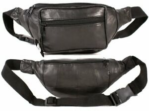 Mens Black Real  Leather Bum/Waist Bag From Diva New And Tagged