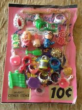 Old Vending  Display Mini Dolls Love Necklace Ping Pong Ring Magnifier USA Flag