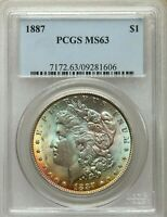 1887 $1 Morgan Dollar PCGS MS63 BEST OLD GREEN HOLDER COLORFUL RAINBOW TONING