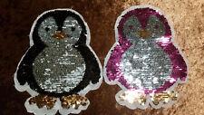 XL Patch Pinguin schwarz pink mit Wendepailletten süß Aufnäher Flicken DIY
