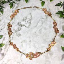 Vintage Mid Century Designer Gemischte Metalle Künstler Artisan Made Halskette /