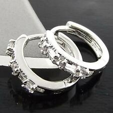 A001 GENUINE REAL 18K WHITE G/F GOLD DIAMOND SIMULATED WOMENS HOOP EARRINGS