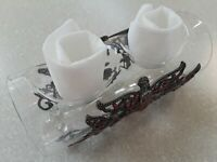 Metal Jeweled Fairies Glass Feet Foot Dual Double Tea Light Candle Holder