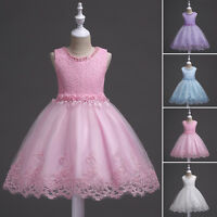 Kids Baby Girls Lace Flower Party Prom Princess Pageant Wedding Fancy Tutu Dress