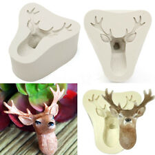 3D Christmas Deer Stag's Heads Silicone Fondant Cake Chocolate Mold Kitchen Tool
