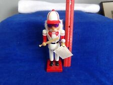 "Nutcracker Collection 2008 Baseball Player Smaller 8"" Red White Purple Glasses"