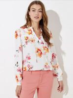 NWT Women's Ann Taylor LOFT L/S Floral Blossom Shirred Split Neck Blouse Sz XL