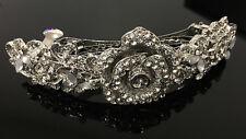 silver tone clear rhinestone crystal flower hair barrette clip ha276225